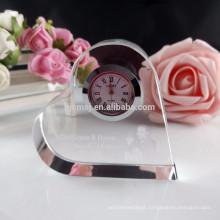 Preço barato coração forma relógio de cristal personalizado com laser 3d lgo