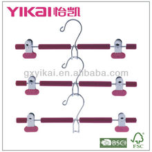 Set of 3pcs EVA foam coated metal skirt hangers with metal clips and space saving hook