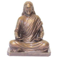 Religious metal sculpture jesus christ bronze statue in meditation