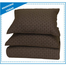 Solid Brown Brick Pattern Quilted Coverlet Set