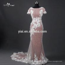 RQ111Suzhou reale Abbildungen 100% Qualitäts-luxuriöse kurze Hülsen schwere bördelnde Nixe-Hochzeits-Kleid