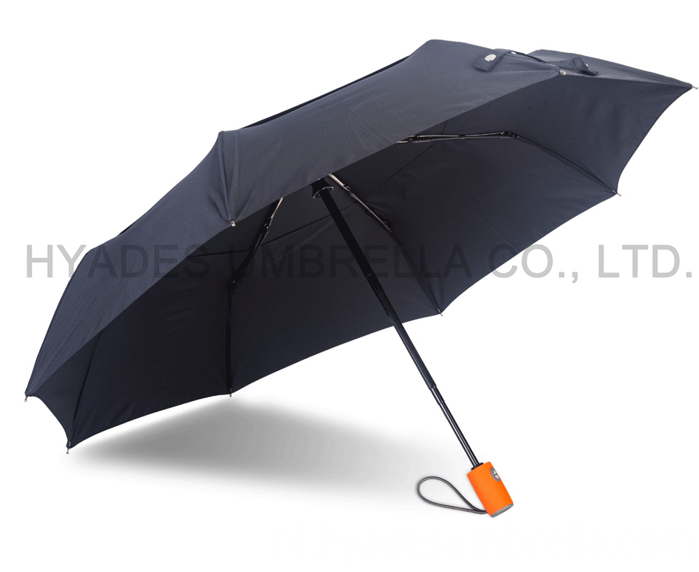 Auto Oepn And Close Folding Umbrella Double Layered Orange Handle 04