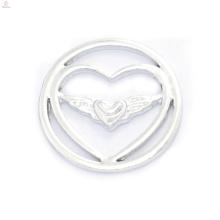 Fahion 22mm design prata anjo asa jóias fornece medalhões flutuantes placas