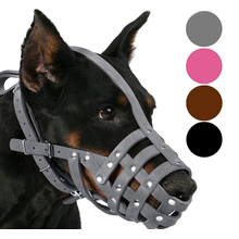 Pink Gray Leather Dog Muzzle