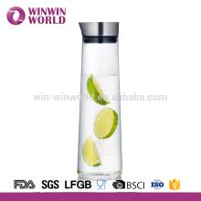 Verre d'eau de jus de verre en verre résistant à la chaleur de vaisselle 1L avec le couvercle