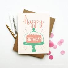 Impresión de tarjeta de cumpleaños de papel de regalo personalizado de lujo