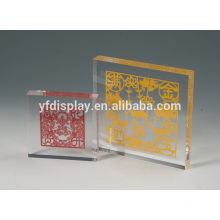 clear solid acrylic photo embedment logo block