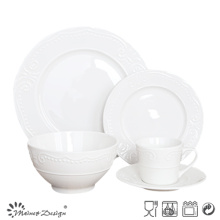 20PCS Porcelain Dinner Set for restaurant with Embossed Design