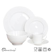 Cena de la porcelana 20PCS fijada para el restaurante con diseño grabado en relieve