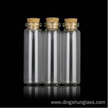 Glass bottle with lid cork material