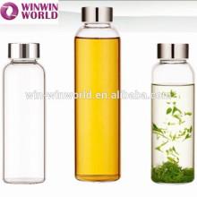 LFGB Werbegeschenk tragbare wiederverwendbare Glasflasche für Wasser