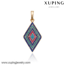 33109 Newest design noble women accessories wholesale parallelogram micro pave Turquoise pendant