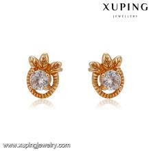 90123 Light quality fashion earring 18K gold plated 1gram gold leaf stud earring insert big white zircon