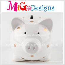 Factor fabricado cerdo de cerámica adorable en forma de banco de la moneda