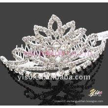 Peine de tiara de cristal de plata