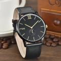 New design trend face leather strap mens quartz watch