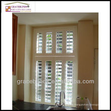 Inside mounted shutters 63.5mm blade stain color Z frame double panel window shutters