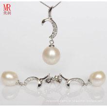 925 conjuntos de jóias de prata com pérolas de água doce e CZ (ES1321)