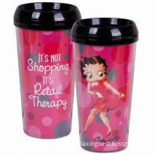Plastic Travel Mugs with Lid and Unbreakable Body, Easy to Handle, OEM Orders are Accepted