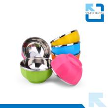 Tazones de fuente coloridos del acero inoxidable y del plástico y tazón de fuente de arroz del acero inoxidable para los cabritos