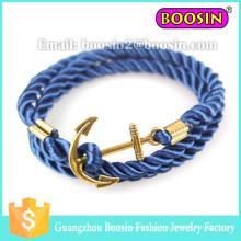 Pulseira de corda trançada com âncora de ouro para homens nautica marinha marinha