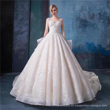 Vestidos de novia de alta calidad del vestido de boda del V-cuello