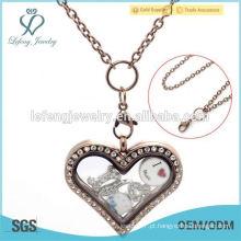 Moda cristal de chocolate pingente flutuante colar de jóias por atacado