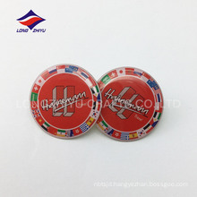 Gold promotion gifts metal glossy round epoxy pin