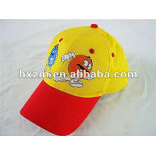 yellow and red embroidery kids caps and hats