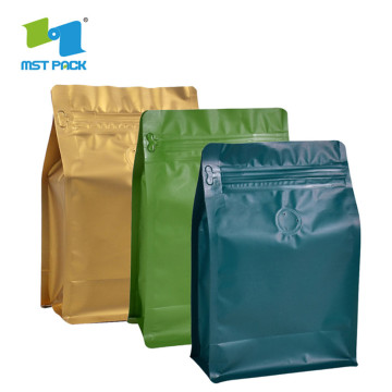 Kraf cetakan kraf tersuai Flat Bottom Box Pouch Bag Dengan Valve For Coffee Beansin food bags