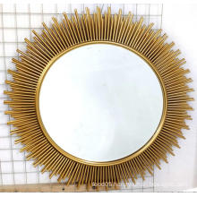 Sun shaped golden decorative metal MDF mirror