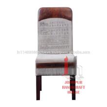 Chaise à manger en bois imprimée en cuir vintage