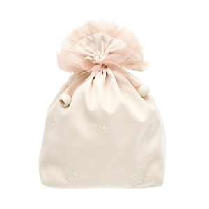 beige satin bag with lining organza ribbon