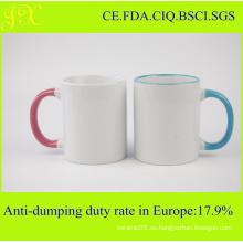 11oz Color Rim y manija Sublimation Mug
