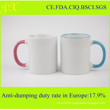 11oz Color Rim and Handle Sublimation Mug