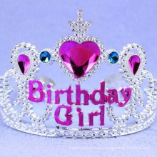 Heart Pink Rhinestone Wide Plastic Happy Birthday Tiara
