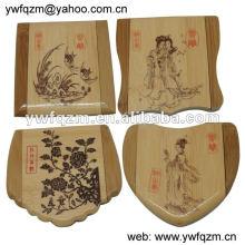 usine fabrique le miroir compact de bambou dépliable avec le logo