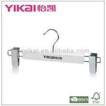 Percha de madera blanca con logo y clips de metal 2pcs