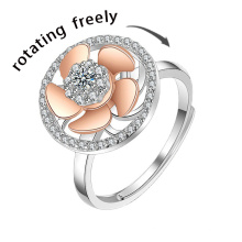 New Arrive Silver Turn Freely Anxiety Ring Adjustable for Women