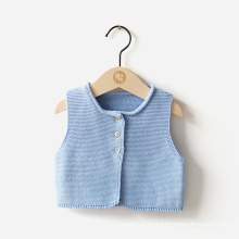 Caliente-vendiendo el bebé hecho punto bebé infantil suéter chaleco con el collar, suéter hecho a mano del bebé recién nacido