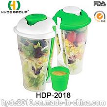 Taza plástica de la coctelera de la ensalada del envase de comida con la bifurcación (HDP-2018)