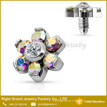 Anchor Top Prong Prong Set CZ Flower 316L Surgical Steel Internally Threaded Jewelry