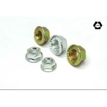 Écrou à brides hexagonales en acier au carbone DIN 6923 avec zinc jaune