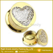 Großhandel Multi-Edelsteine Epoxy beschichtet Titan Gold Edelstahl Ohr Gauges