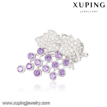 00038 Fashion Luxury Leaf Crystal Jewelry Brooch in Rhodium Color