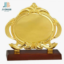 Supply 19.5*17.5cm Custom Logo Gold Metal Souvenir Plate for Gift