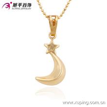 Xuping moda charme 18 k banhado a ouro em forma de lua imitação de jóias colar de pingente-32517