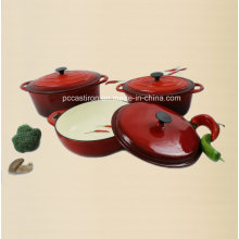 3PCS Cast Iron Cookware Set Enamel Finishing