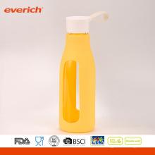 Everich borosilicato fácil llevar botella de agua de vidrio con la manga de silicona
