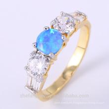 Simple anillo de ópalo de fuego azul diseños joyería diamante broca anillo de compromiso diseñador
